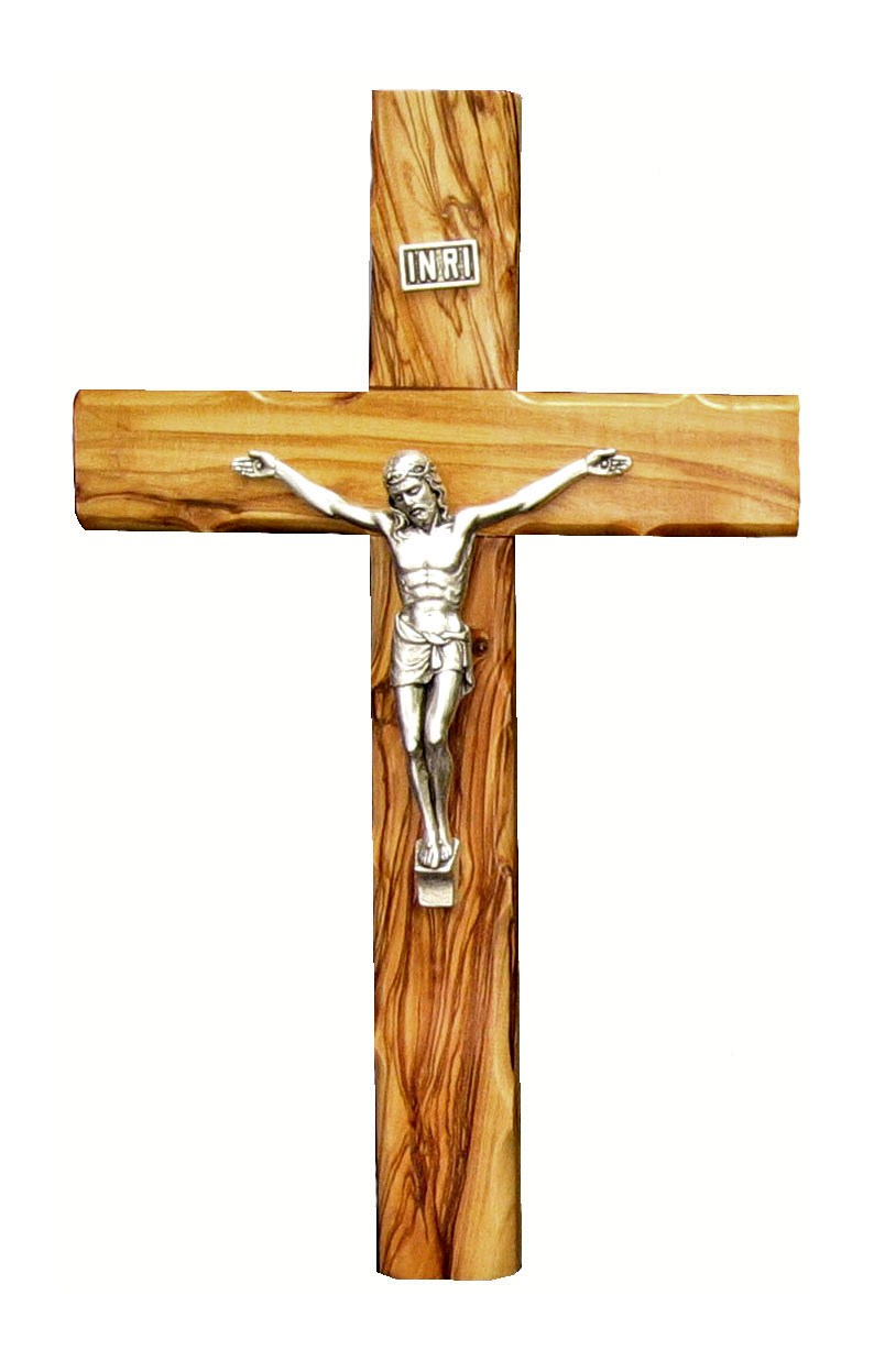 Olive wood Cross with silver plated corpus -  20 cm.