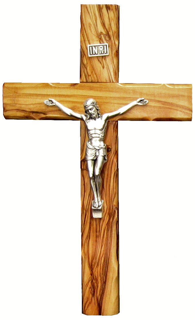 Olive wood Cross with silver plated corpusI - 25cm
