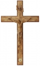 INLAID OLIVE WOOD CROSS WITH WOODEN CORPUS- 120 CM
