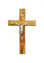 Olive wood Cross with silver plated corpus- 12cm