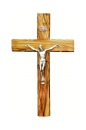 Olive wood Cross with silver plated corpus- 16 cm.