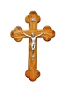 Roman olive wood Cross with silver plated corpus - 16cm.