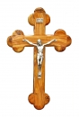 Roman olive wood Cross with silver plated corpus- 20cm.