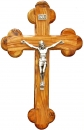 Roman olive wood Cross with silver plated corpus  - 25cm.