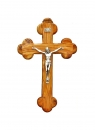 Roman olive wood Cross with silver plated corpus- 12cm.